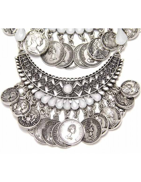 Colier statement indian argintiu cu cristale albe si banuti