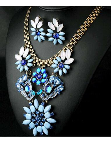 Set statement auriu vintage, cu pietre albe, bleu si albastre