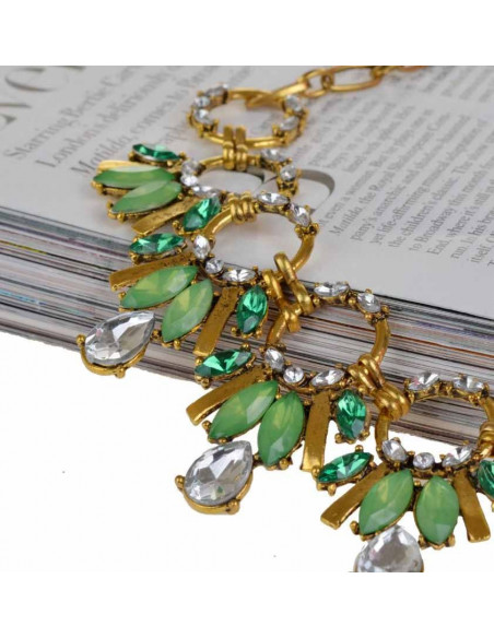 Colier statement auriu vintage cu cristale albe si verzi