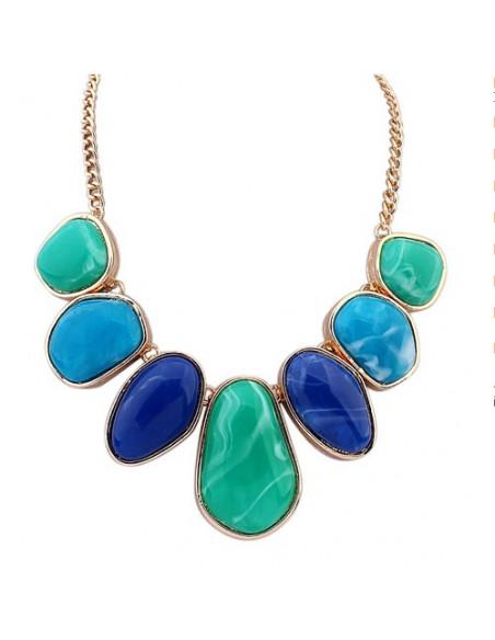 Colier statement auriu cu pietre foarte mari, albastre, verzi, turcoaz, negre, gri