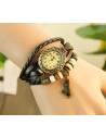 Ceas vintage, ceas unicat, ceas curea din piele, cadran oval inflorat si lucky charm bufnita