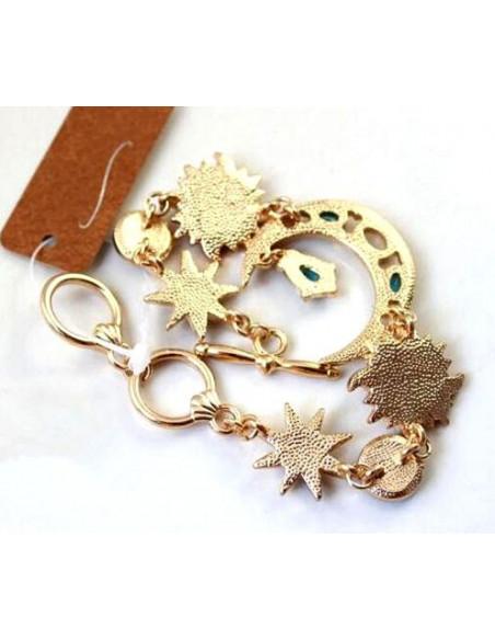 Bratara metalica aurie, cu semiluna si stele