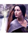 Lantisor subtire argintiu cu medalion Arwen Evenstar cu cristale