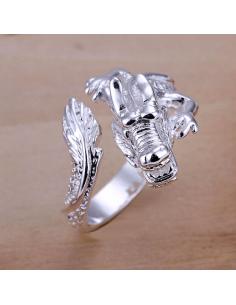 Inel placat cu argint, model dragon incolacit