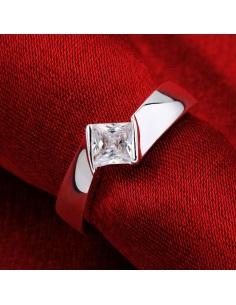 Inel din argint, model simplu cu cristal alb patrat