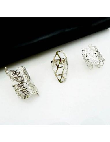 Set 3 inele aurii late ajustabile cu model decupat