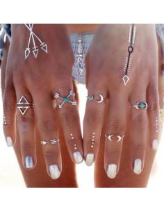 Set 6 inele indiene argintii subtiri, cu pietre turcoaz