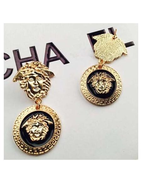 Cercei statement, cap de Medusa in medalion cu bordura greceasca