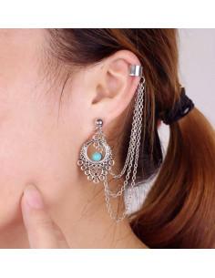 Cercel ear cuff, model cu medalion si piatra turcoaz