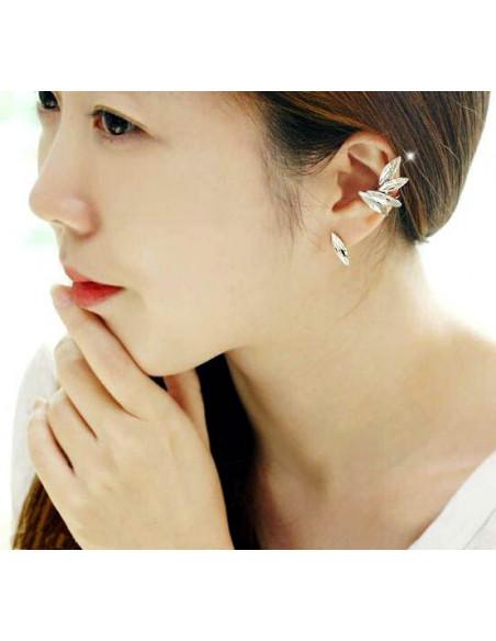 Cercel tip ear cuff, model Crystal stud cu 6 cristale