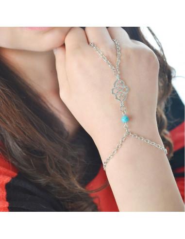 Bratara arabeasca cu inel, din lanturi subtiri, medalion spirala indiana