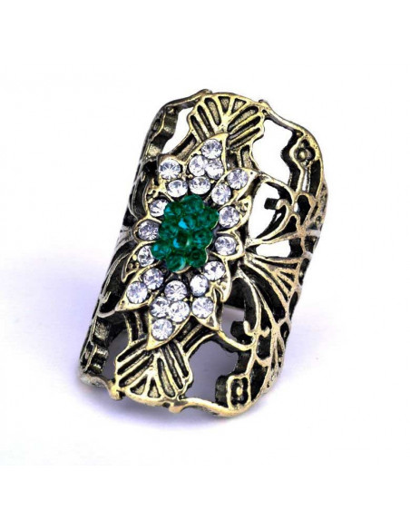 Inel lat, bronz, cu cristale albe si verzi