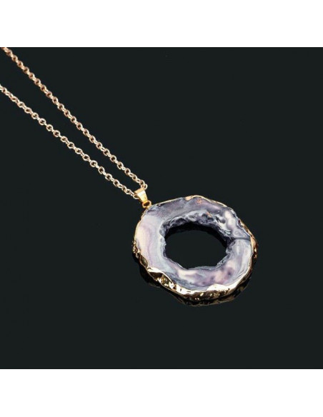 Lant auriu cu medalion Atoll din rasina sintetica