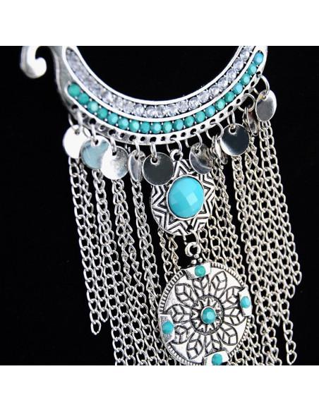 Colier turcesc cu lantisoare, banuti metalici si cristale