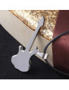 Medalion chitara rock, gri inchis cu argintiu, medalion rock punk