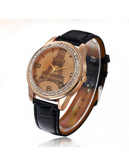 Ceas de dama elegant, cadranTurnul Eiffel Paris, ceas auriu cu cristale