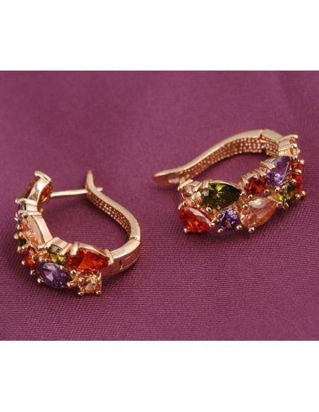 Cercei statement model baroc cu cristale multicolor zircon