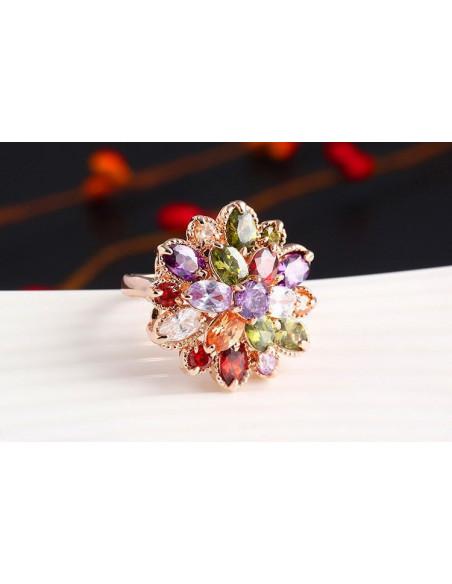 Inel statement model floral cu cristale colorate zirconiu