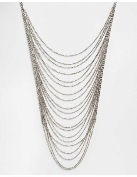 Colier Simply Me cu multe lanturi lungi argintii