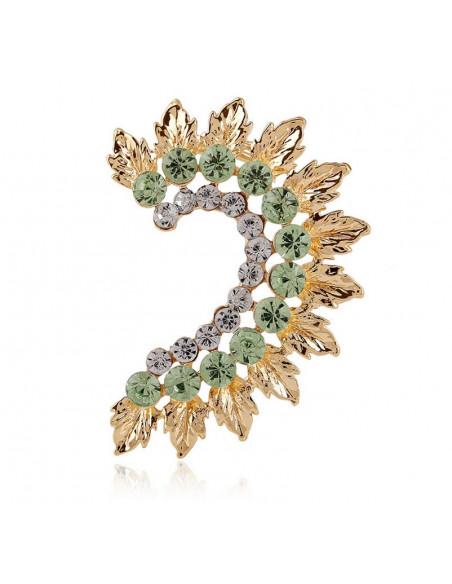 Cercel ear cuff, pe toata urechea, auriu cu cristale si frunze metalice