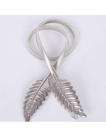 Curea metalica ingusta, cu elastic metalic si catarama cu frunze