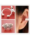 Cercel ear cuff fundita mica decorata cu cristale albe