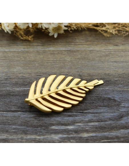 Agrafa pentru par, aurie, cu frunza de ficus, model boho