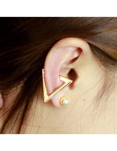 Cercel ear cuff, triunghi auriu cu prindere directa pe ureche