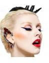 Cercel tip ear cuff statement dragon stilizat cu cristale rosii