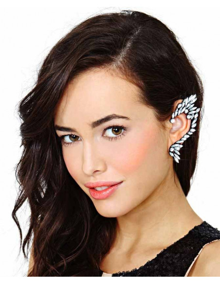 Cercel tip ear cuff statement dragon stilizat cu cristale albe