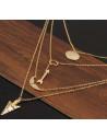 Lantisoare subtiri pe patru randuri, medalion, cerc, aripi si doua sageti