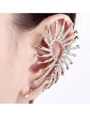 Cercel ear cuff, model statement, pana de paun cu cristale albe