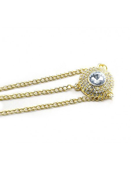 Bentita pentru par cu lantisoare si medalion cu cristale albe