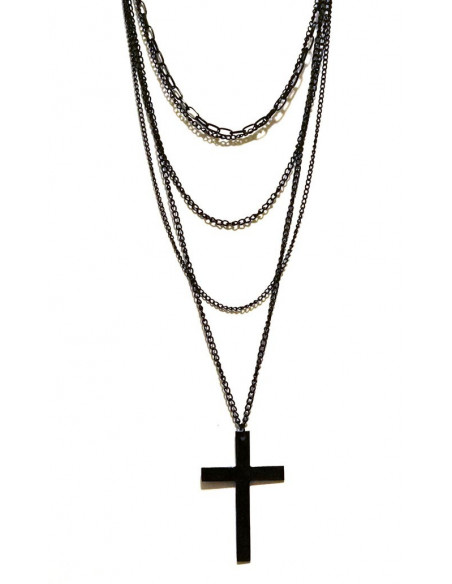 Colier Black Cross cu lanturi lungi negre si cruce