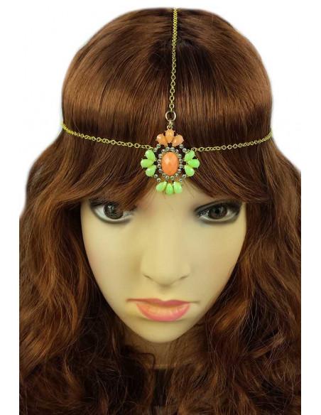 Bentita hippie aurie cu medalion verde cu portocaliu