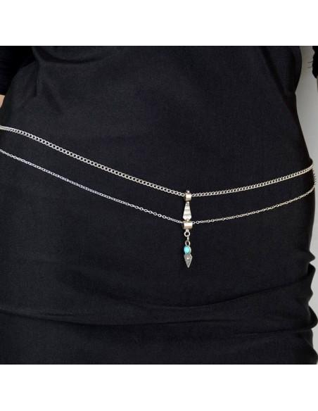 Lant pentru talie argintiu, de inspiratie orientala, cu piatra turcoaz