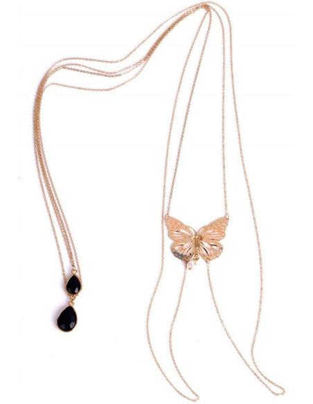 Lant pentru corp auriu, lung, cu fluture la spate si cristale negre