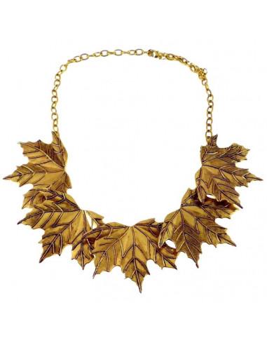 Colier statement auriu patinat, model cu frunze de artar