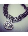 Colier tattoo choker negru cu copacul vietii si elastic la baza gatului