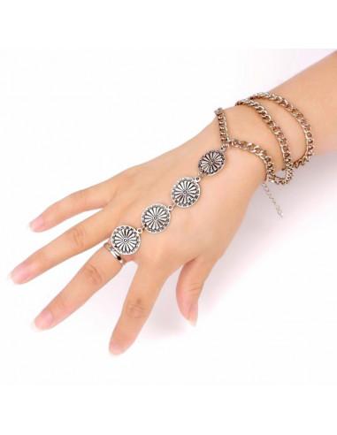 Bratara cu inel indiana, argintie cu banuti mari cu flori