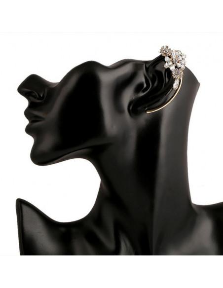 Cercel tip ear cuff, model cu stelute de cristal, prindere pe ureche