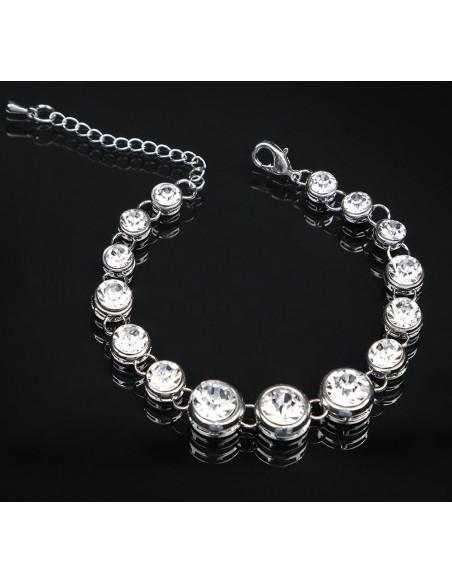 Bratara metalica argintie cu cristale albe mari si rotunde