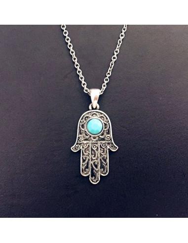 Lantisor subtire argintiu cu medalion Hamsa cu cristal turcoaz