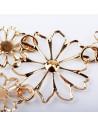 Colier auriu cu flori metalice, cu cristale albe, micute si fragile