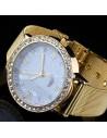 Ceas de dama de lux, model barbatesc, cadran mare cu cristale si curea metalica