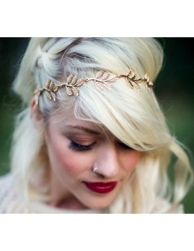 Bentita hippie, bentita boho chic cu frunze aurii crestate
