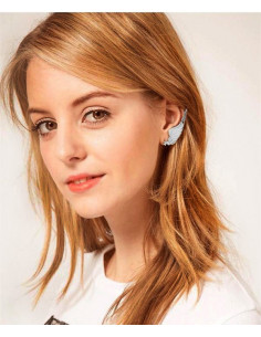 Cercei tip ear cuff, model pana cu steluta, prindere dubla, pe ureche