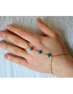 Bratara cu inel din lant subtire si trei margele turcoaz