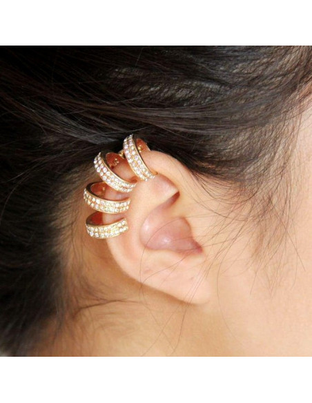 Cercel tip ear cuff, pe toata urechea, 4 inele cu cristale albe