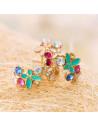 Cercei aurii colorati, cu cristale si fluturi din email